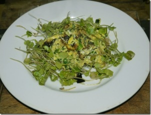 Chickweed omelet on plate